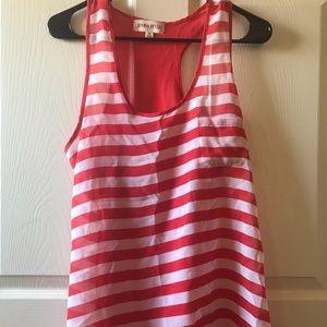 Zenana Styles Red and white Striped Tank Top Sz M